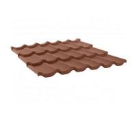 Трехволновый лист композитной черепицы Grand Line цвет Шоколад